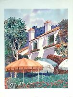 WATERCOLOR LITHOGRAPH LANDSCAPE ART PAINTING SIGNED BY LISTED ARTIST PETER WONG