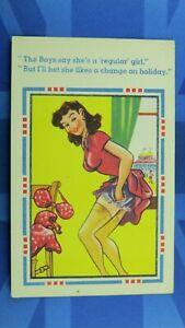 Saucy Comic Postcard 1930's French Knickers Voyeur Nylons Silk Stockings Boobs