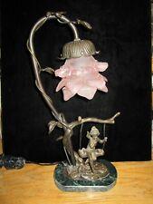 "Andrea By Sadek Bronze - Lady Swinging Lamp - 15"" Tall"