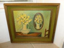 """1971 Still Life Yellow Roses Table Mirror Framed 11X9"""" Oil on Canvas Painting"""