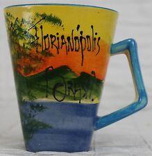 Florianoplois Basil Hand-Painted Coffee Mug Artist Signed Brazil Bridge Sunset