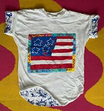 Peter Max Reversible Shirt Flag With Heart-Lady Liberty 1990