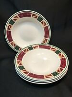 "Set of 4 Tienshan PRAIRIE Stoneware Rimmed Soup Bowls   8 1/2"" x 1 3/4"" Deep"