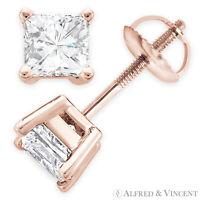 Forever One D-E-F Square Cut Moissanite Screwback Stud Earrings in 14k Rose Gold