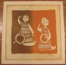 "Signed Christine Amarger (b.1935) print on handmade paper 2 musicians 20x20"""