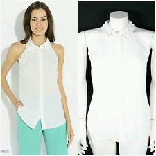 NWT Guess by Marciano white embellished top blouse size  42/M