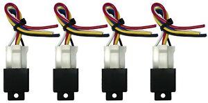"(4) Beuler 40/60 Amp Waterproof 5-Pin Relay Panel W/ (4) 6"" Socket Wire Harness"