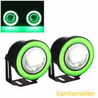 2 x Universal Green LED Angel Eyes Car Front Lights Spot Fog Halogen Circle Lamp