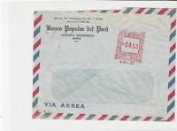 Peru Banco popular del Peru Lima machine cancel air mail stamps cover ref 21631
