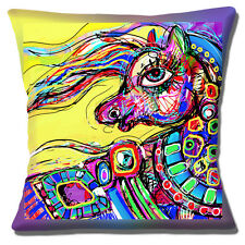 """ABSTRACT PAINTED HORSE YELLOW MULTICOLOUR 16"""" X 16"""" Pillow Cushion Cover"""