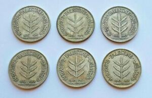 Lot of 6 Palestine 100 Mil Coins 1927 1931 1935 1939 1940 1942 KM7 720 Silver