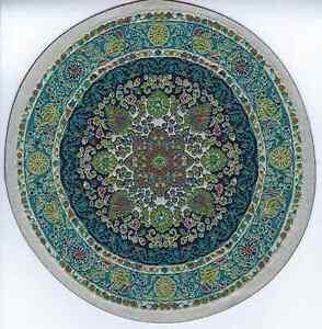 "1/12  DOLLS HOUSE TURKISH CIRCULAR CARPET 7.5""(19cm)  BLUE FLORAL"
