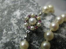Perlenkette Verschluss 585 / 14K Gold Rubin Besatz Halskette / Kette 55 Perlen