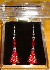 RED Silver Plated CHRISTMAS TREES w/ 2-4mm  RED CRYSTALS  EARRINGS NIB FR HKS