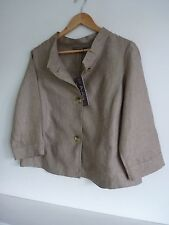 Ladies Lovely M&S Portfolio Oatmeal Waist Length Linen Jacket Size 14, Bnwt
