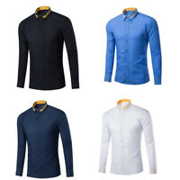 Mens Casual Shirts Long Sleeve Party Wedding Business Lapel Dress Shirts  GIFT