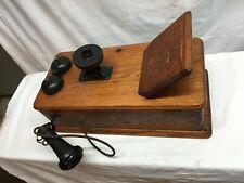 Vintage Antique Kellogg Hand Crank Wall Telephone Phone Wood Case