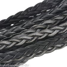 KUS 10M Flach Geflochten Schwarz Lederband Schmuckschnur Bastelschnur 5mm