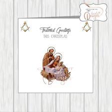 Masonic Christmas Card Masons Xmas Nativity Scene Joseph Mary Baby Jesus Manger