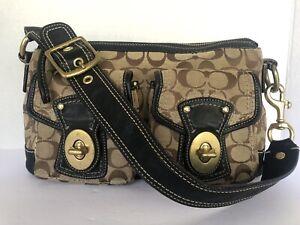 COACH Signature Legacy F-12869  Canvas Leather Satchel Handbag Kkaki Turnlock