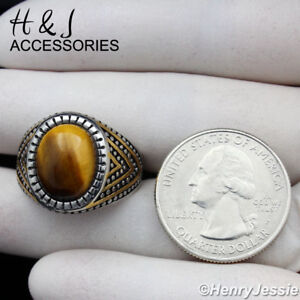 MEN's Stainless Steel Oval Tiger Eye Gemstone Gold/Silver Ring Size 8-13*ATR115