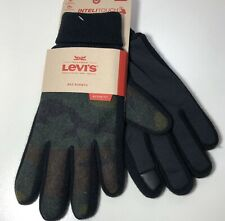 Sz L LEVIS Mens Stretch Active Fit Intelitouch Gloves Knit Cuff Camouflage Green