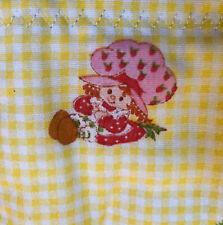 "Vintage Strawberry Shortcake Baby Quilt Blanket Handmade 38"" x 39"" Crib Cotton"