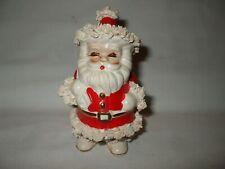 Vtg Napco Ceramic Santa Claus w/Bag Spaghetti & Gold Trim Planter Candle Holder