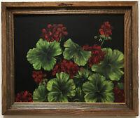 Vintage Floral Geranium Oil Painting Signed Edie Jones Big Canoe Georgia Framed