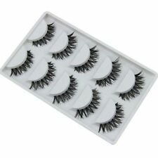 5Pairs Natural Long Cross Faux-cils Thick Black False Eyelashes Femme Eye Makeup