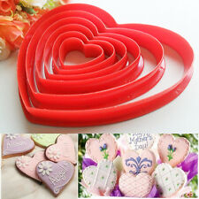 6pcs set Heart Shaped Plastic Cake Mold Cookie Cutter Biscuit Stamp Sugar USA