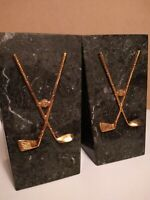 Vtg  Marble Heavy Golf Bookends Brass Golf Clubs