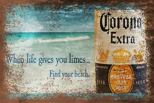 Corona Beer Life Gives You Limes Advert Vintage Look Retro Style Metal Sign pub