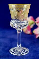 Elegant Crystal Wine Stem Goblet With Gold Bands Scrolls & Trim