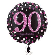 Pink Sparkling Celebration 90th Birthday Party Standard Foil Balloons