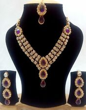 Indian Tradition Kundan Purple color Set Necklace and Earrings Gold Plated