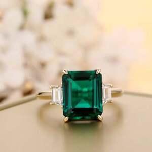 3.55 CT Emerald Diamond Engagement Anniversary Ring 14kt Yellow Gold Over
