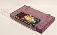 10 SNES CARTRIDGE PROTECTORS Custom Clear Cases Super Nintendo Video Game Carts