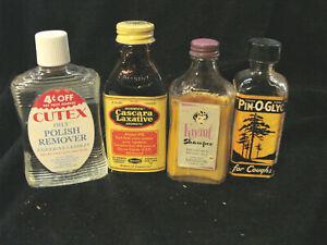 Vintage Medicine Cosmetic Bottles LOT 4 Laxative Shampoo Cough Polish Remover