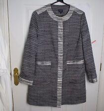 M&S Black & White Coat Pockets Popper size 16 Casual Smart Straight