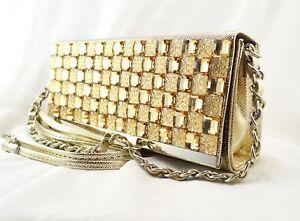 Champagne Gold Gem Fold Over Handbag Party two straps