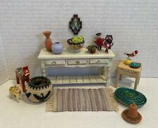 Vintage Artisan Southwestern Decor Items Basket Pottery Dollhouse Miniature 1:12