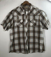 Wrangler Western Men's Size 2XL Pearl Snap Plaid Button Up Short Sleeve Shirt