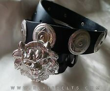 Elvis Style Silver Lion Head Western Concho Belt