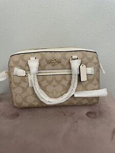 NWT Coach F83607 Signature Rowan crossbody handbag in Light Khaki/Chalk $328
