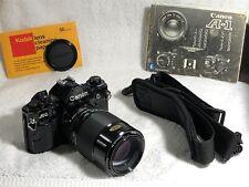 Canon A-1 35mm Black Camera Body w Vivitar 1:1 Macro Telephoto 100mm 2.8 Lens ++