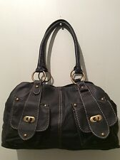 GEORGE real leather ladies black soft slouchy underarm shoulder handbag