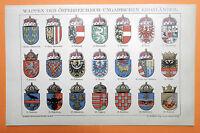 WAPPEN Österreich Ungarn Länderwappen  Kronländer LITHOGRAPHIE 1895
