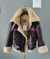 Womens Genuine Leather Shearling Lamb Wool Fur Bomber Motorcycle Jacket  parkas