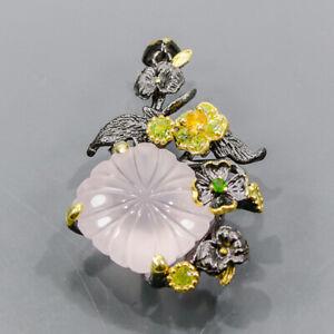 21ct+ Vintage Rose Quartz Pendant Silver 925 Sterling  /NP14930